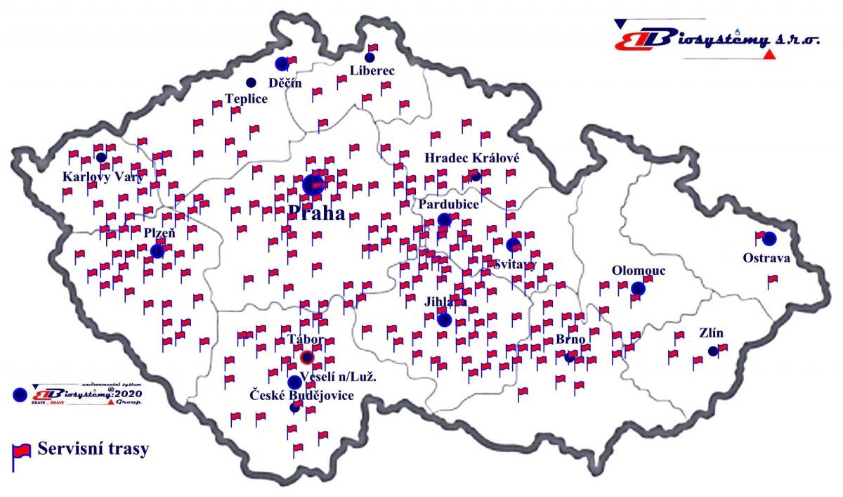 Mapka zákazníci ČR